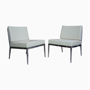 Vintage Chrome and Leather Lounge Chairs, Set of 2