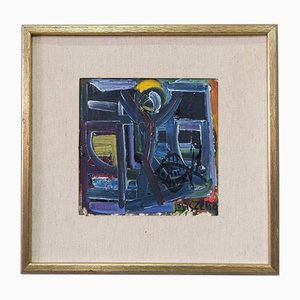 Pittura ad olio astratta di Louis Zelig, anni '60