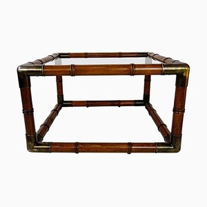Wood, Glass and Brass Coffee Table, 1970s