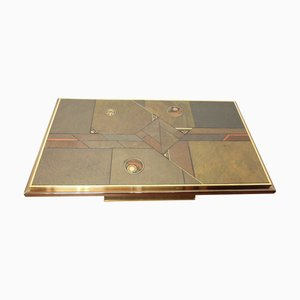 Brutalist Brass, Bronze and Stone Coffee Table, 1970s