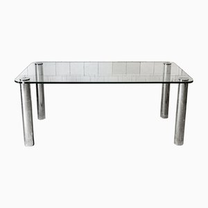 Italian Glass and Chromed Metal Table, 1970s