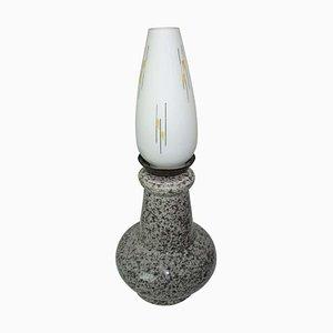 Keramik und Opalglas Lampe, 1950er