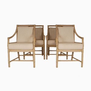 Rattan Target Back Dining Chairs by Elinor McGuire, 1980s, Set of 4