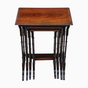 Edwardian Mahogany Nesting Tables, Early 20th Century, Set of 4