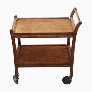 Art Deco Oak Serving Table or Trolley, 1930s