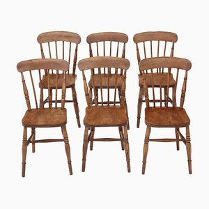 Elm & Beech Kitchen Dining Chairs, 1900s, Set of 6