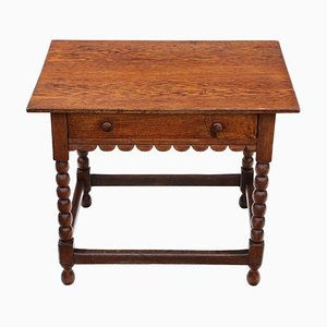 Georgian Oak Occasional Side Table with Drawer, 1800s