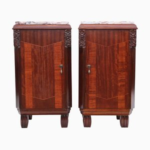 Art Deco Marquetry Nightstands with Marble Tops, Set of 2