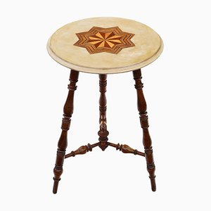 Victorian Decorated & Inlaid Beech Occasional Cricket Table, 19th Century