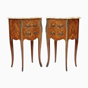 French Marquetry Nightstands with Marble Tops, Set of 2