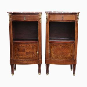 French Marquetry Nightstands with Marble Tops, 1930s, Set of 2