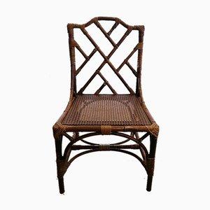 Sillas Chippendale estilo Mid-Century de ratán y bambú. Juego de 4