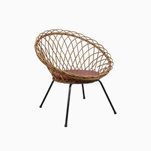 Vintage Dutch Round Wicker Lounge or Side Chair by Dirk Von Sliedregt for Rohé Noordwolde, 1960s