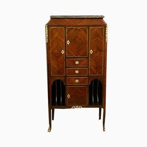 Mueble de almacenamiento Louis XV con marquetería de madera preciosa, década de 1850
