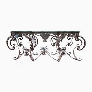 Large Vintage Wrought Iron Console Table with Marble Top