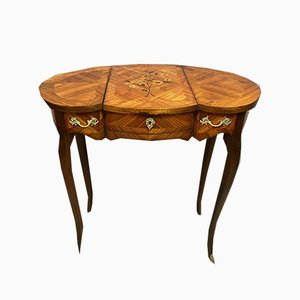 Louis XV Trilobate Dressing Table with Precious Wood Inlay, Circa 1900