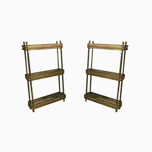 Mesas de servicio estilo Maison Jansen de latón dorado y latón dorado, años 40. Juego de 2