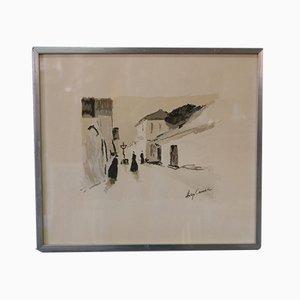 Helge Cardell, pintura sueca moderna, técnica mixta sobre papel, años 60