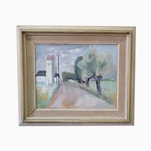 Pintura Gouache sueca moderna de John Börén, años 50