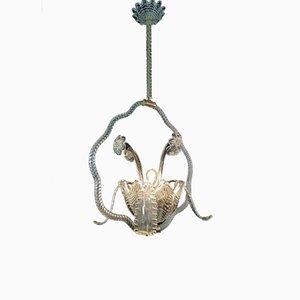 Lampada da soffitto con fiori in vetro di Ercole Barovier per Barovier & Toso, anni '50