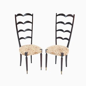 Mid-Century Modern High Back Side Chairs Attributed to Paolo Buffa, Set of 2
