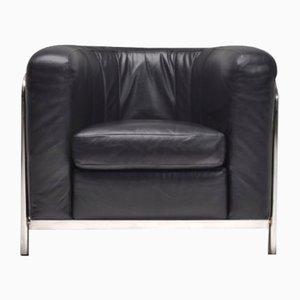 Vintage Onda Stuhl aus Leder & Chrom von Zanotta
