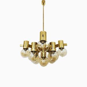 Lámpara de araña italiana de latón, años 60