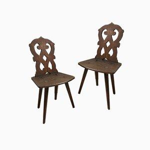 Brutalist Alsatian Mountain Chairs, 1800s, Set of 2