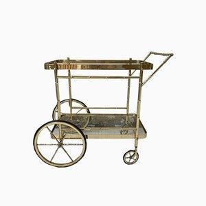 Vintage Messing & Bambus Servierwagen von Maison Baguès