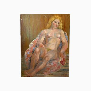 Junod, Oil Painting, Nude Woman, 1950s