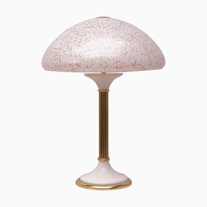 Glass & Brass Table Lamp, 1970s