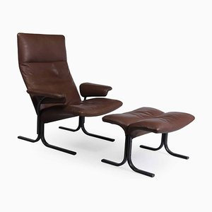 Model DS 2030 Lounge Chair & Footstool from De Sede, 1980s, Set of 2