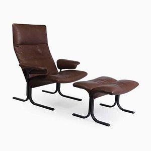 Modell DS 2030 Sessel & Fußhocker von De Sede, 1980er, 2er Set