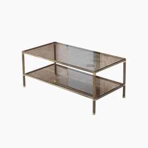 French Brass, Bronze & Smoked Glass Coffee Table by Maison Jansen, 1950s