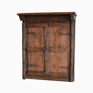 Rustic Wall-Mounted Solid Hardwood Cupboard with Iron Fittings
