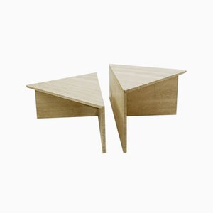 Tables Basse Triangulaires en Travertin de Up & Up, 1970s