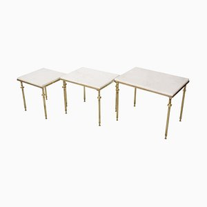 Marble & Brass Nesting Tables, Set of 3