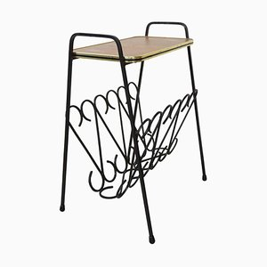 Wrought Iron & Wood Side Table