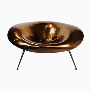Silla italiana vintage grande de fibra de vidrio y metal