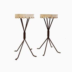 Mesas auxiliares de hierro y madera