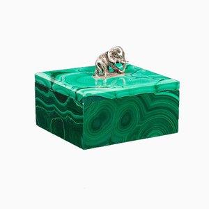 Small Antique English Victorian Decorative Silver & Malachite Trinket Box
