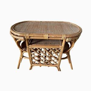 Mesa y sillas de mimbre, años 70. Juego de 3