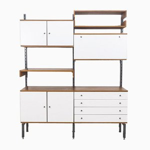 Teak & Metal Wall Unit from Simplalux, 1960s, Set of 10