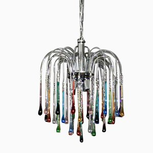 Multicolored Murano Glass 3-Light Drop Chandelier, 1960s