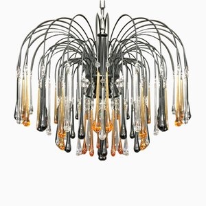 Amber Crystal & Smoked Murano Glass 8-Light Drop Chandelier, 1960s