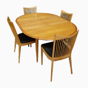 Round Dining Table with Butterfly Leaf & Dining Chairs, 1960s, Set of 5