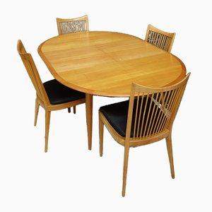 Runder Esstisch mit Schmetterlingsflügel & Esszimmerstühlen, 1960er, 5er Set