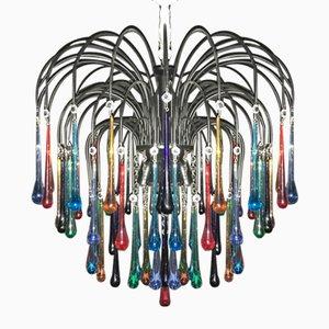 Mehrfarbiger Murano Glas Kronleuchter mit 6 Leuchten, 1960er