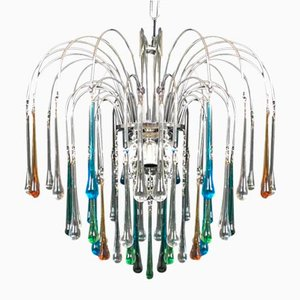 Multicolored Murano Glass 6-Light Drop Chandelier, 1960s