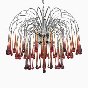Red, Amber & Amethyst Murano Glass 8-Light Drop Chandelier, 1960s